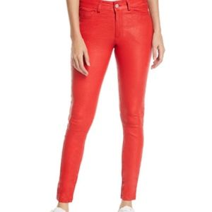 Joes The Skinny Napa Leather Red Pants Size 25